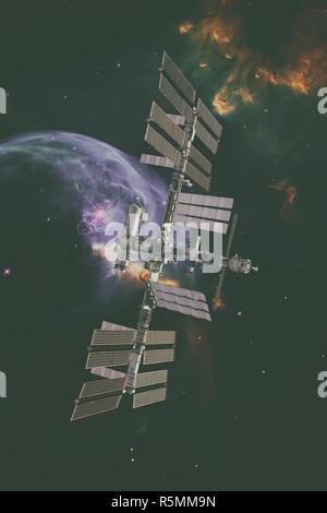 International Space Station over nebula. - Stock Photo