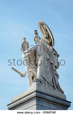 Statue of Young man led to a new battle by Athena on the Castle bridge in Berlin - Stock Photo