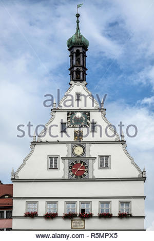 Clock Tower in Market Place Square in Rothenburg - Stock Photo