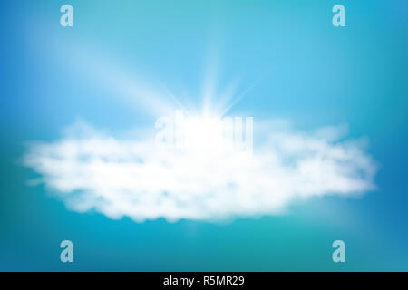 Realistic shining sun with lens flare. Blue sky with clouds background. Vector illustration. - Stock Photo