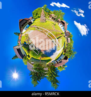 Village of Kumrovec countryside planet perspective panorama - Stock Photo