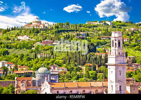 Verona rooftops and Madonna di Lourdes sanctuary view - Stock Photo