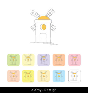 Windmill or mill line icons set with shadow. Vector illustration - Stock Photo