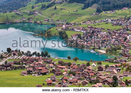 View of Brienz in the Bernese Oberland Region of Switzerland - Stock Photo