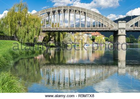 Bridge over the River Adda at Brivio Lombardy Italy - Stock Photo