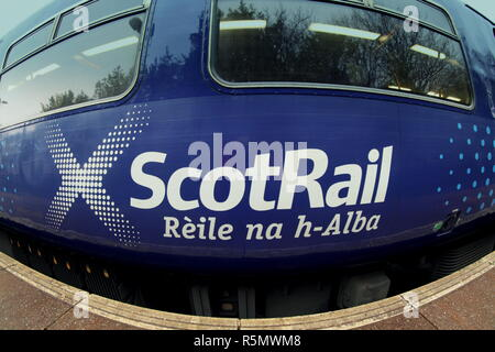 scotrail Rèile na h-Alba logo on the side of a carriage nobody - Stock Photo