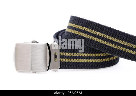 blue color canvas belt isolated on white background - Stock Photo