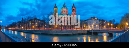 Saint Lucas Church at night in Munich, Germany - Stock Photo