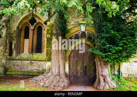Medieval Door at St Edwards Church - Stock Photo