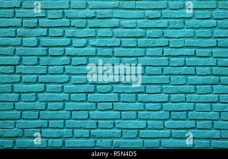 Turquoise Colored Brick Wall at La Boca in Buenos Aires of Argentina for Background, Texture or Pattern - Stock Photo