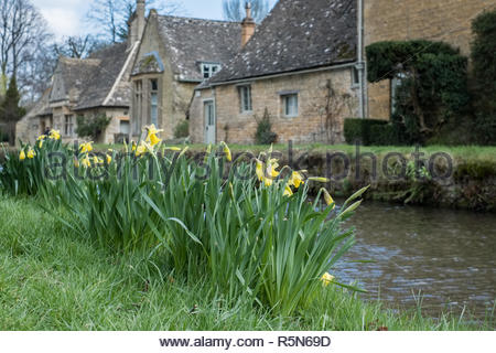 Scenic View of Lower Slaughter Village in the Cotswolds - Stock Photo