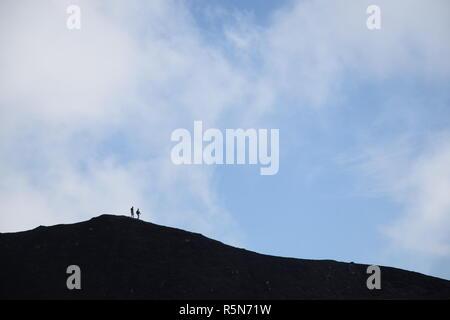 hiker at torre del filosofo,etna,sicily - Stock Photo