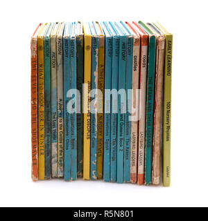 SWINDON, UK - DECEMBER 1, 2018: Collection of old childrens books on a white background - Stock Photo