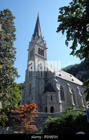 Cathedral of St. Florin in Vaduz, Liechtenstein - Stock Photo