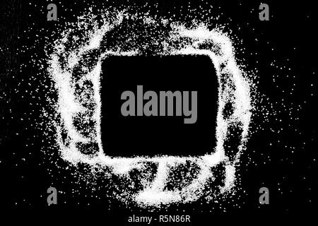 Empty square checking box symbol drawing by finger on white snow salt powder spot cloud in center on black background. Tick concept with place for text. Copy space. - Stock Photo