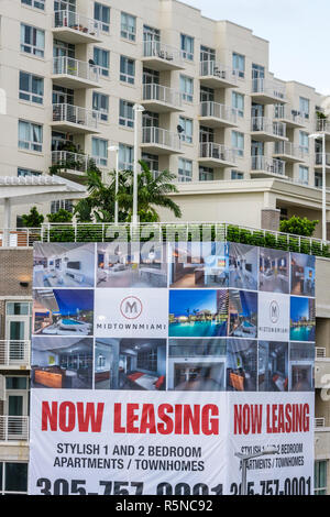 Miami Florida Midtown building apartment condominium dwelling multi-family leasing rental real estate economy mortgage crisis ne - Stock Photo