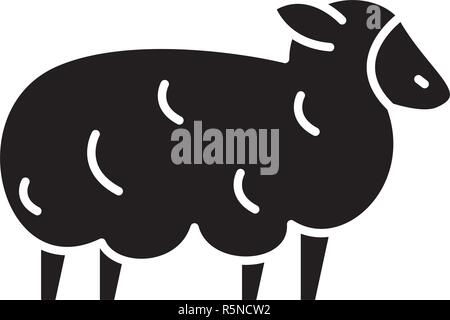 Sheep black icon, vector sign on isolated background. Sheep concept symbol, illustration  - Stock Photo