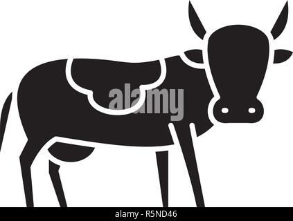 Bull black icon, vector sign on isolated background. Bull concept symbol, illustration  - Stock Photo