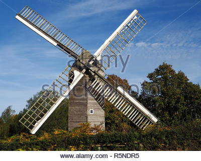 View of Nutley Windmill in the Ashdown Forest - Stock Photo