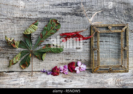 still life with flowers,leaves and a brass picture frame on wooden background - Stock Photo