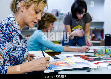 Miami Beach Florida Lincoln Road Mall ArtCenter South Florida art watercolor class painting adult education student hobby woman - Stock Photo