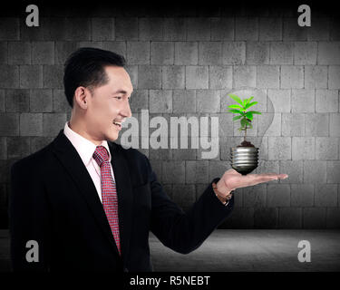 Business person holding light bulb with plant inside - Stock Photo