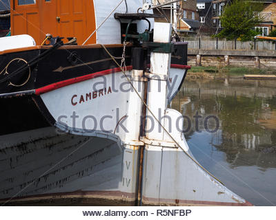 FAVERSHAM, KENT/UK - MARCH 29 : Close up view of the Cambria restored Thames sailing barge in Faversham Kent on March 29, 2014 - Stock Photo