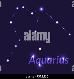 The Water-Bearer aquarius sing. Star constellation element. Age of aquarius constellation zodiac symbol on dark blue background. - Stock Photo