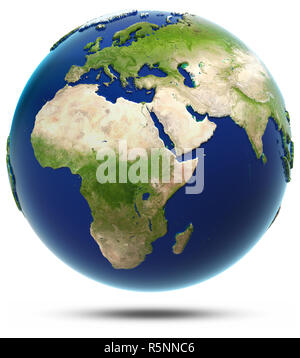 Earth model - Africa and Eurasia 3d rendering - Stock Photo