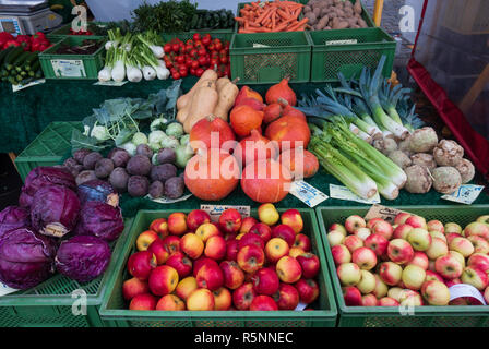 Detail of organic fruit and vegetables at weekend farmers market in Prenzlauer Berg in Berlin,, Germany - Stock Photo