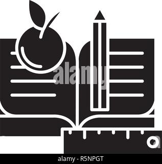 Schooling black icon, vector sign on isolated background. Schooling concept symbol, illustration  - Stock Photo