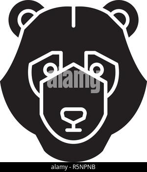 Bear trend black icon, vector sign on isolated background. Bear trend concept symbol, illustration  - Stock Photo