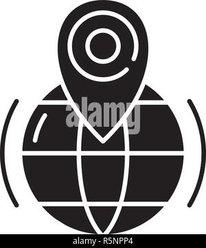 Gps black icon, vector sign on isolated background. Gps concept symbol, illustration  - Stock Photo