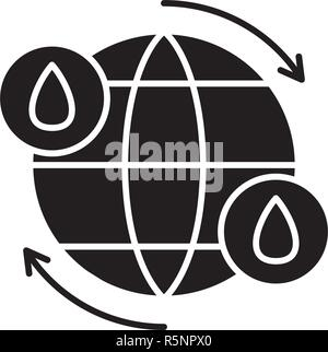 Water cycle black icon, vector sign on isolated background. Water cycle concept symbol, illustration  - Stock Photo