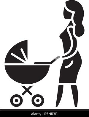 Mom with a baby carriage black icon, vector sign on isolated background. Mom with a baby carriage concept symbol, illustration  - Stock Photo