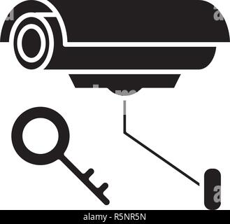 Video alarm black icon, vector sign on isolated background. Video alarm concept symbol, illustration  - Stock Photo