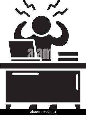 Business stress black icon, vector sign on isolated background. Business stress concept symbol, illustration  - Stock Photo