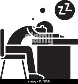 Tired at work black icon, vector sign on isolated background. Tired at work concept symbol, illustration  - Stock Photo