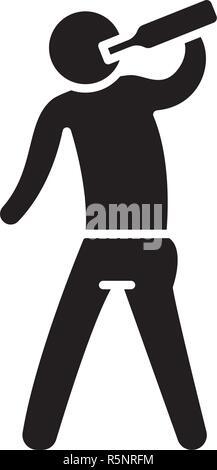 Alcoholic black icon, vector sign on isolated background. Alcoholic concept symbol, illustration  - Stock Photo