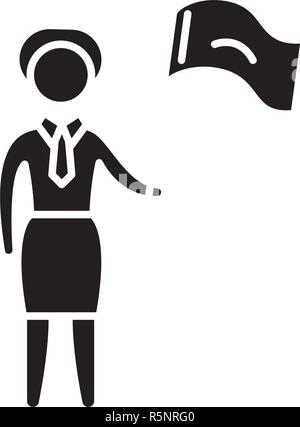 Female target black icon, vector sign on isolated background. Female target concept symbol, illustration  - Stock Photo