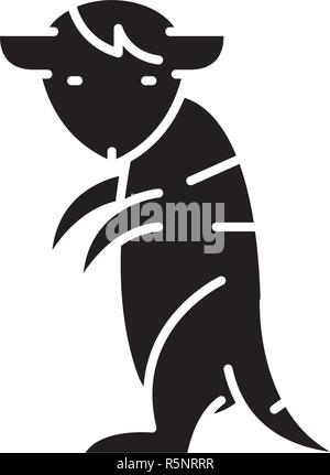 Meerkat black icon, vector sign on isolated background. Meerkat concept symbol, illustration  - Stock Photo