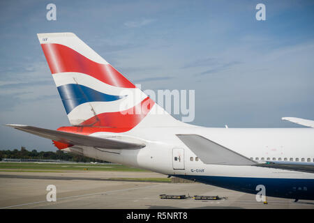 September 24, 2017 London/UK - British airways logo on the tail of an aircraft getting ready to take flight from Terminal 5, Heathrow - Stock Photo
