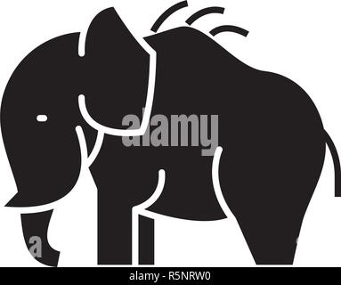 Mammoth black icon, vector sign on isolated background. Mammoth concept symbol, illustration  - Stock Photo