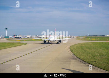 September 24, 2017 London/UK - Airplanes about to take off Heathrow Airport - Stock Photo