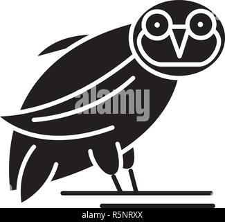 Owl black icon, vector sign on isolated background. Owl concept symbol, illustration  - Stock Photo