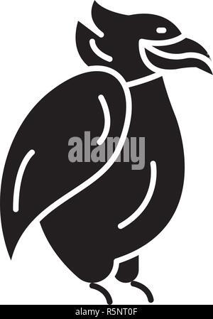 Emperor penguin black icon, vector sign on isolated background. Emperor penguin concept symbol, illustration  - Stock Photo