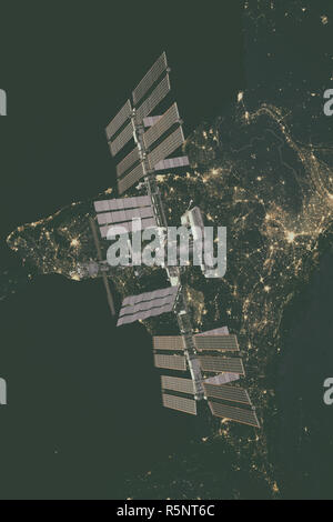 International Space Station over Europe. - Stock Photo