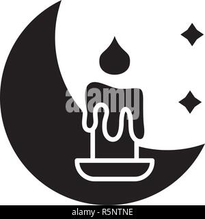 Night time black icon, vector sign on isolated background. Night time concept symbol, illustration  - Stock Photo