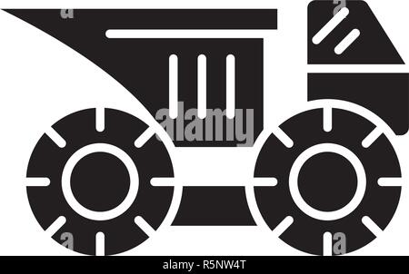 Big construction machine black icon, vector sign on isolated background. Big construction machine concept symbol, illustration  - Stock Photo