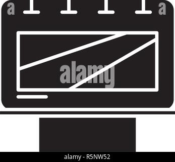 Outdoor advertising black icon, vector sign on isolated background. Outdoor advertising concept symbol, illustration  Stock Photo